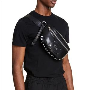Givenchy tag leather bum bag in smooth lea…